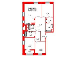 Квартира в ЖК Футурист, 3 комнатная, 128.3 м², 9 этаж
