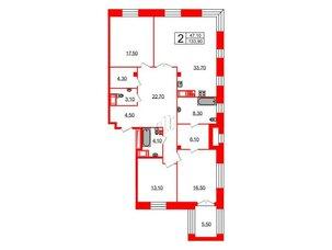 Квартира в ЖК Футурист, 3 комнатная, 133.9 м², 6 этаж