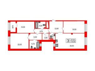 Квартира в ЖК Футурист, 3 комнатная, 133.9 м², 4 этаж