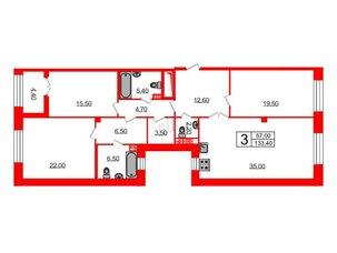 Квартира в ЖК Футурист, 3 комнатная, 133.4 м², 5 этаж