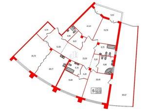 Квартира в ЖК Петровская доминанта, 5 комнатная, 254.06 м², 2 этаж