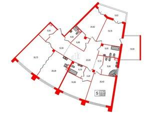 Квартира в ЖК Петровская доминанта, 5 комнатная, 248.39 м², 4 этаж