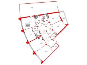 Квартира в ЖК Петровская доминанта, 5 комнатная, 258.24 м², 2 этаж