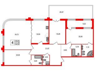 Квартира в ЖК Петровская доминанта, 4 комнатная, 184.09 м², 2 этаж
