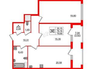 Квартира в ЖК Familia, 2 комнатная, 79.68 м², 5 этаж
