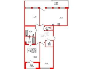 Квартира в ЖК Familia, 3 комнатная, 108.37 м², 8 этаж