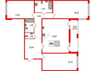 Квартира в ЖК Familia, 3 комнатная, 135.04 м², 5 этаж