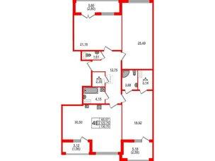 Квартира в ЖК Familia, 3 комнатная, 130.7 м², 5 этаж