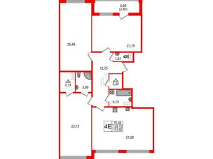 Квартира в ЖК Familia, 3 комнатная, 131.95 м², 7 этаж