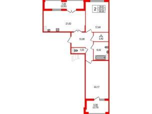 Квартира в ЖК Familia, 2 комнатная, 89.85 м², 6 этаж