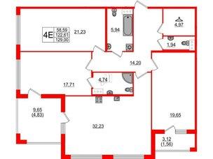 Квартира в ЖК Familia, 3 комнатная, 129 м², 4 этаж