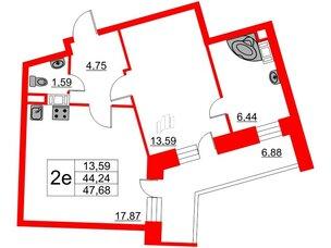 Квартира в ЖК Ariosto!, 1 комнатная, 47.68 м², 5 этаж
