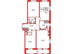 Квартира в ЖК Эмеральд на Малой Неве, 3 комнатная, 105.1 м², 10 этаж