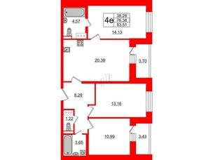 Квартира в ЖК ЦДС Елизаровский, 3 комнатная, 75.7 м², 17 этаж