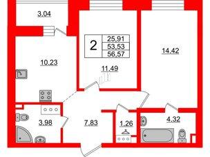 Квартира в ЖК ЦДС Елизаровский, 2 комнатная, 53.53 м², 16 этаж