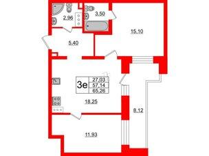 Квартира в ЖК Елизаровский, 2 комнатная, 57.14 м², 16 этаж
