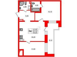 Квартира в ЖК ЦДС Елизаровский, 2 комнатная, 57.14 м², 17 этаж