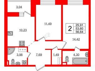 Квартира в ЖК ЦДС Елизаровский, 2 комнатная, 53.6 м², 19 этаж