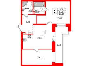 Квартира в ЖК Елизаровский, 2 комнатная, 57.57 м², 13 этаж