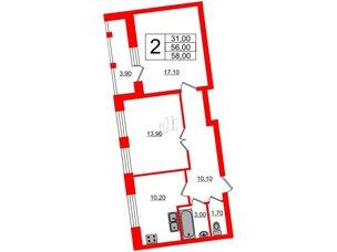 Квартира в ЖК Эталон на Неве, 2 комнатная, 58.3 м², 10 этаж