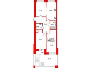 Квартира в ЖК Эталон на Неве, 3 комнатная, 84 м², 4 этаж