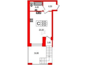 Квартира в ЖК Эталон на Неве, студия, 36.9 м², 4 этаж