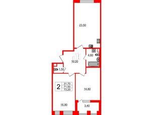 Квартира в ЖК Svetlana Park, 2 комнатная, 71.5 м², 2 этаж