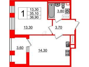 Квартира в ЖК Svetlana Park, 1 комнатная, 35.1 м², 5 этаж