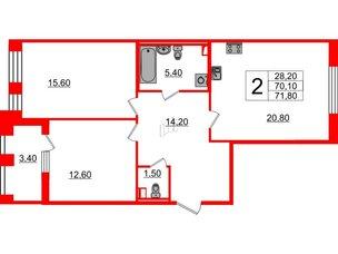 Квартира в ЖК Svetlana Park, 2 комнатная, 70.1 м², 2 этаж