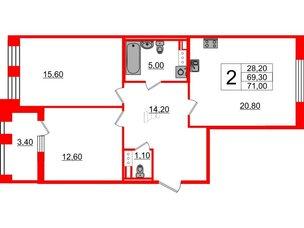 Квартира в ЖК Svetlana Park, 2 комнатная, 69.3 м², 6 этаж