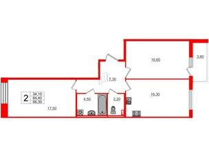 Квартира в ЖК Svetlana Park, 2 комнатная, 64.4 м², 2 этаж