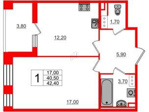 Квартира в ЖК Svetlana Park, 1 комнатная, 40.5 м², 6 этаж