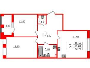 Квартира в ЖК Svetlana Park, 2 комнатная, 68.2 м², 2 этаж
