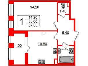 Квартира в ЖК Svetlana Park, 1 комнатная, 35 м², 2 этаж