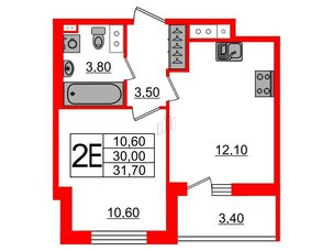 Квартира в ЖК Svetlana Park, 1 комнатная, 30 м², 9 этаж