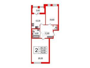 Квартира в ЖК Svetlana Park, 2 комнатная, 74.6 м², 4 этаж