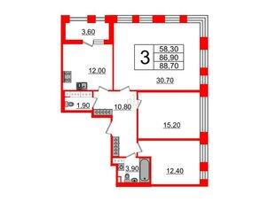 Квартира в ЖК Svetlana Park, 3 комнатная, 86.9 м², 5 этаж