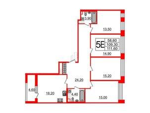 Квартира в ЖК Svetlana Park, 4 комнатная, 109.3 м², 4 этаж