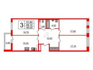 Квартира в ЖК Svetlana Park, 3 комнатная, 88.1 м², 6 этаж