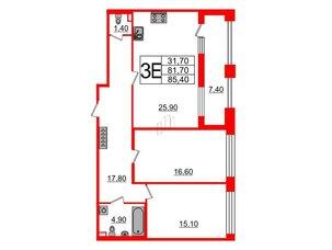 Квартира в ЖК Svetlana Park, 2 комнатная, 81.7 м², 2 этаж
