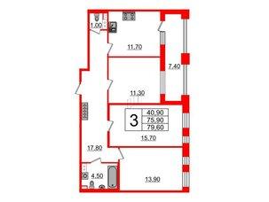 Квартира в ЖК Svetlana Park, 3 комнатная, 75.9 м², 9 этаж