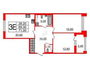 Квартира в ЖК Svetlana Park, 2 комнатная, 69.3 м², 5 этаж