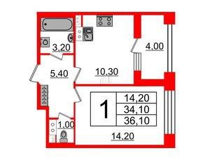 Квартира в ЖК Svetlana Park, 1 комнатная, 34.1 м², 3 этаж