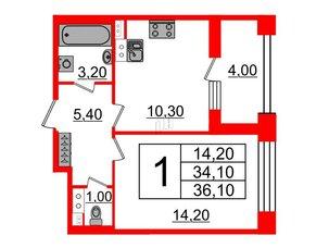 Квартира в ЖК Svetlana Park, 1 комнатная, 34.1 м², 4 этаж