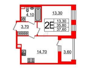 Квартира в ЖК Svetlana Park, 1 комнатная, 35.8 м², 2 этаж