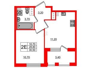 Квартира в ЖК Svetlana Park, 1 комнатная, 28.8 м², 4 этаж