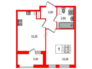 Квартира в ЖК Svetlana Park, 1 комнатная, 31.7 м², 9 этаж