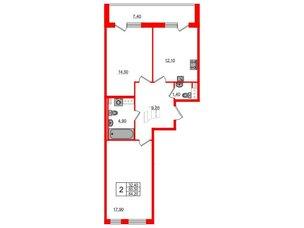 Квартира в ЖК Svetlana Park, 2 комнатная, 60.5 м², 3 этаж