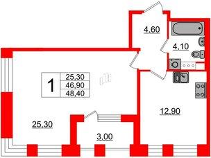 Квартира в ЖК Svetlana Park, 1 комнатная, 46.9 м², 3 этаж
