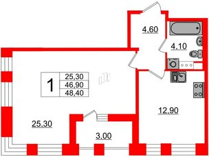 Квартира в ЖК Svetlana Park, 1 комнатная, 46.9 м², 7 этаж
